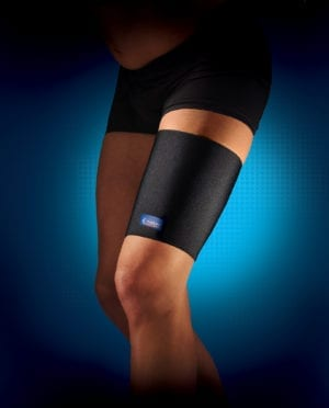 A person wearing a Thuasne Neoprene thigh support