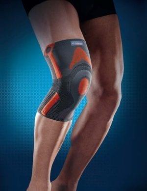 Persons leg wearing Thuasne's reinforced patella knee brace