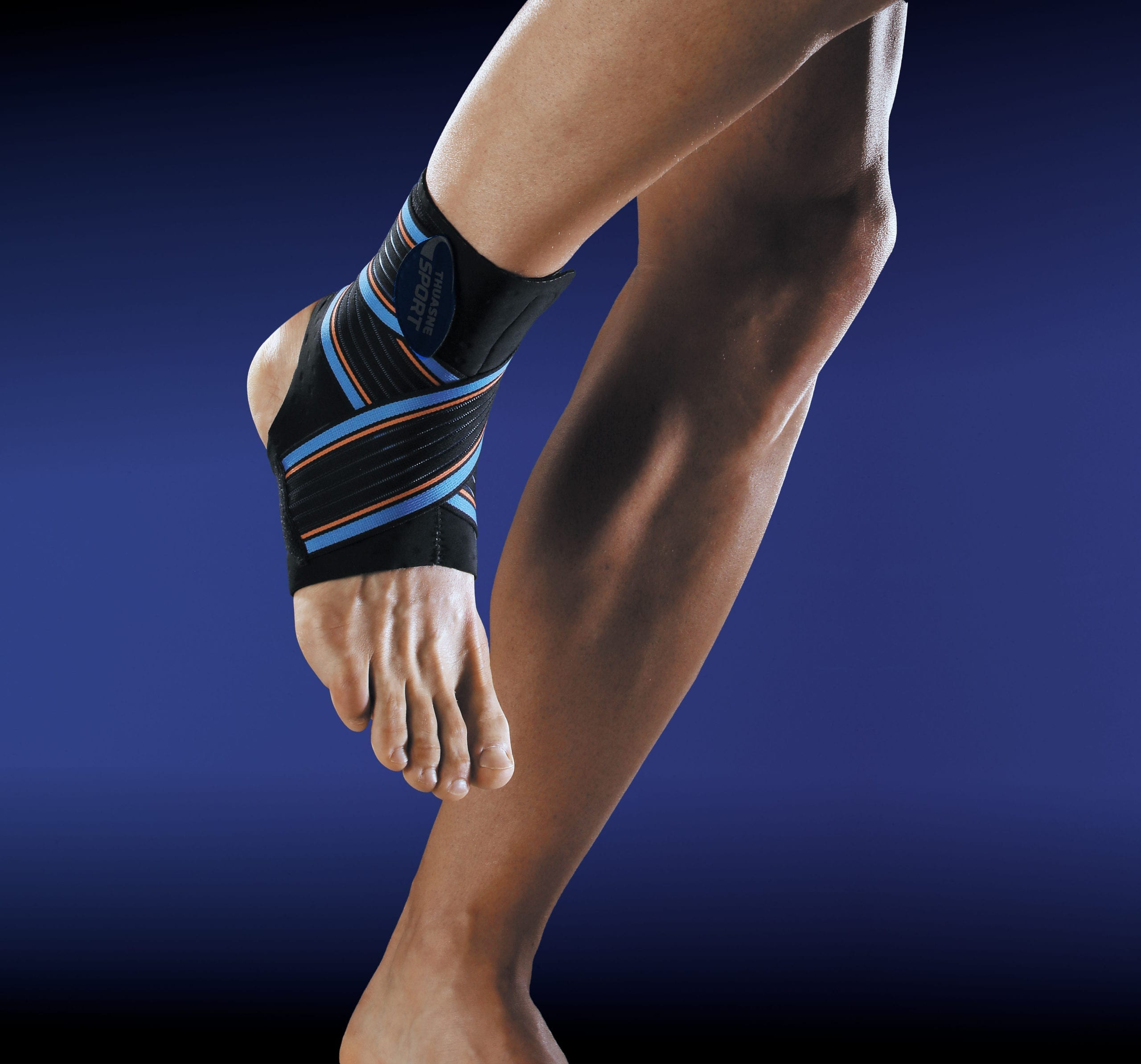 A person wearing a Thuasne Ankle Strapping Support